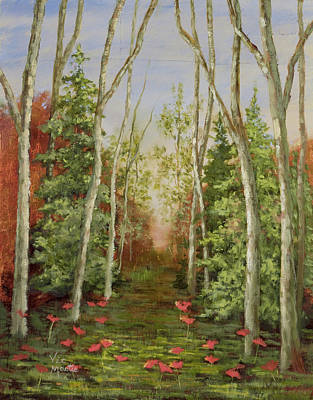 Poster featuring the painting Into The Woods Series-cedar by Vic  Mastis