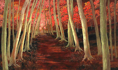 Poster featuring the painting Into The Woods Series-orange by Vic  Mastis