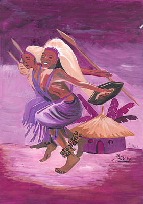 Poster featuring the painting Intore Dance From Rwanda by Emmanuel Baliyanga