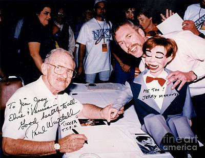 Inventor Of An Artificial Heart Pump And Ventriloquist Paul Winchell Dummy Jerry Mahoney And Myself Poster by Jim Fitzpatrick