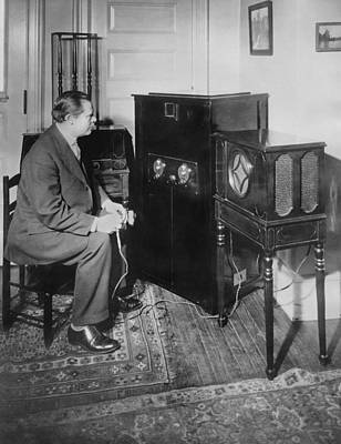 Inventor Watching His 3 Tv Poster by Underwood Archives