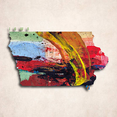 Iowa Map Art - Painted Map Of Iowa Poster by World Art Prints And Designs