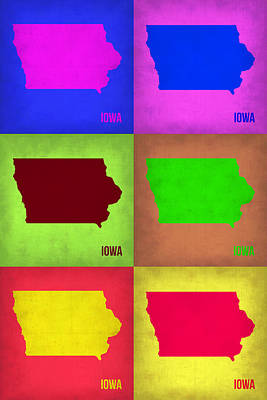 Iowa Pop Art Map 2 Poster by Naxart Studio