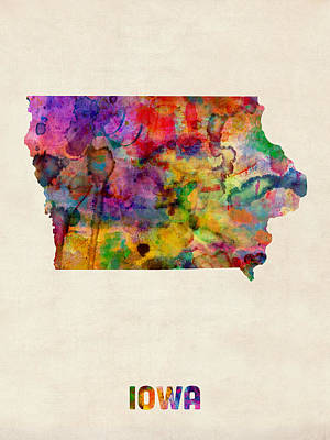 Iowa Watercolor Map Poster by Michael Tompsett