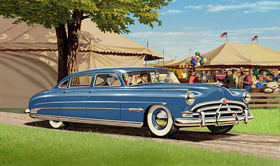iPhone - Galaxy Case - 1951 Hudson Hornet fair americana antique car auto Poster by Walt Curlee