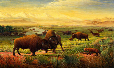 iPhone - Galaxy Case - Buffalo Fox Great Plains western Landscape oil painting - Bison - americana  Poster by Walt Curlee