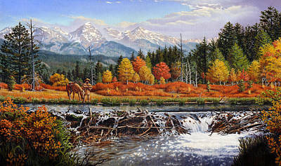 iPhone - Galaxy Case - Western Mountain Landscape Autumn Mountain Man Trapper Beaver Dam Poster