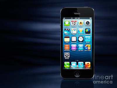 iPhone 5 on dynamic blue background Poster