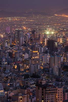 Iran, Tehran, Elevated City Skyline Poster