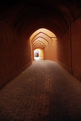 Iran, Yazd, Covered Alley In The Old Poster by Stephanie Rabemiafara
