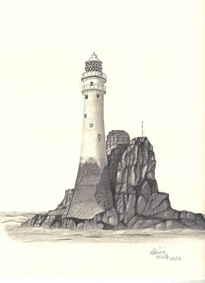 Poster featuring the drawing Ireland Lighthouse by Patricia Hiltz