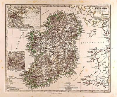 Ireland Map 1872 Gotha Justus Perthes 1872 Atlas Poster by Irish School