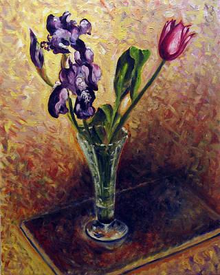Iris And Tulip Poster by Vladimir Kezerashvili