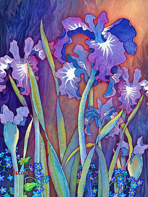 Poster featuring the mixed media Iris Bouquet by Teresa Ascone