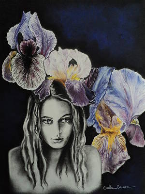 Poster featuring the drawing Iris by Carla Carson