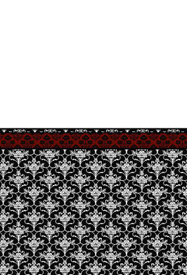 Iris Damask In Red Black And White Poster