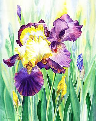 Poster featuring the painting Iris Flowers Garden by Irina Sztukowski