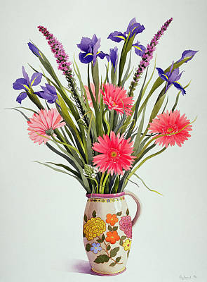 Irises And Berbera In A Dutch Jug Poster by Christopher Ryland