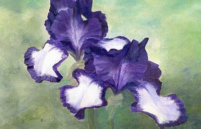 Irises Duet In Purple Flowers Colorful Original Painting Garden Iris Flowers Floral K. Joann Russell Poster