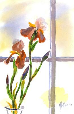 Irises In The Window Poster by Kip DeVore