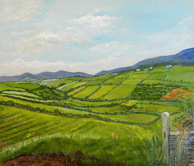 Poster featuring the painting Irish Fields - Landscape by Sandra Nardone