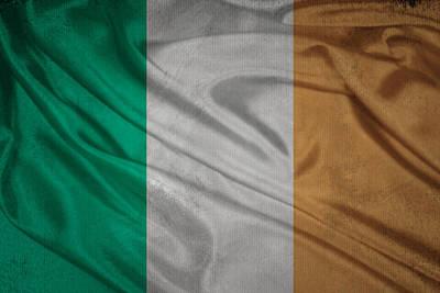 Irish Flag Waving On Canvas Poster by Eti Reid