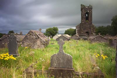 Irish Graveyard Cemetary Dark Clouds Poster by Dirk Ercken