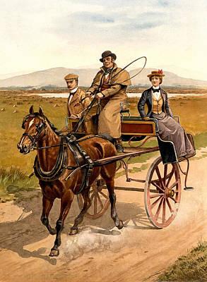 Irish Jaunting Car Poster by Detroit Publishing Co