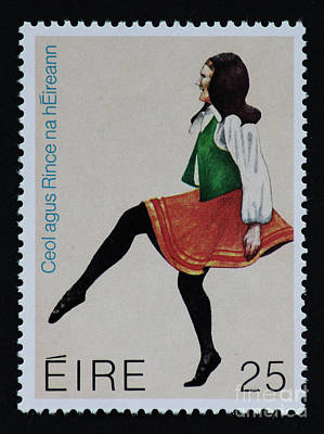 Irish Music And Dance Postage Stamp Print Poster