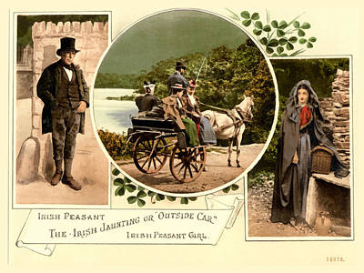 Irish Peasants And A Jaunting Car Poster by Vintage Image