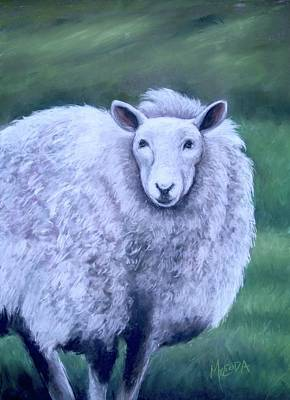 Poster featuring the painting Irish Sheep Portrait by Melinda Saminski