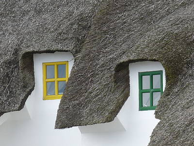 Irish Thatch Cottage Colored Windows Poster by Patrick Dinneen