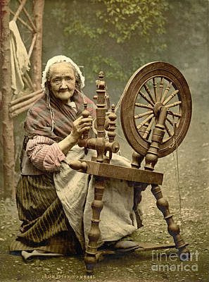 Irish Woman And Spinning Wheel Poster by Padre Art