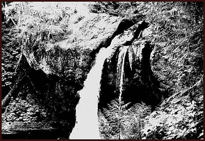 Iron Creek Falls Bw Poster