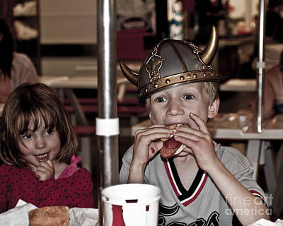 Is She Adoring Her Viking Or Coveting His Lunch Poster by Sandi Mikuse
