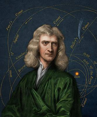 Isaac Newton And Orbital Motion Poster