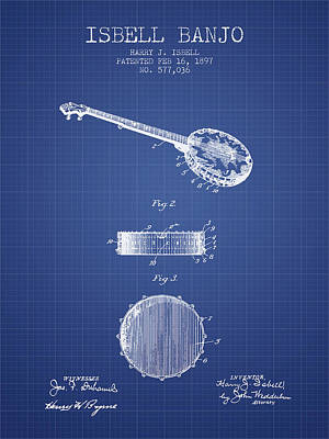 Isbell Banjo Patent From 1897 - Blueprint Poster