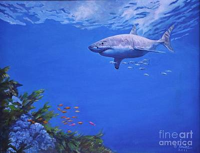 Poster featuring the painting Pacific Great White by Noe Peralez