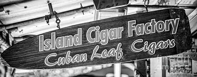 Island Cigar Factory Key West - Panoramic - Black And White Poster by Ian Monk