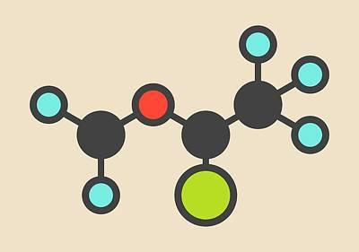 Isoflurane Anesthetic Drug Molecule Poster