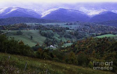 Isolated Farmhouse Mountain Valley Poster
