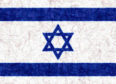 Israel Star Of David Flag Batik Poster by Kurt Van Wagner