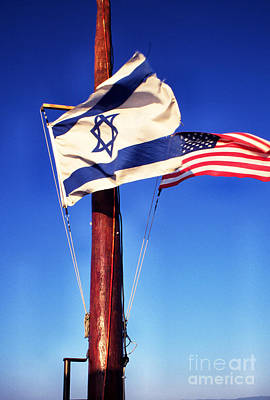 Israeli Flag And Us Flag Poster