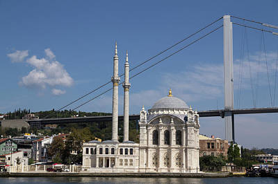 Istanbul Ortakoy Mosque And New Bridge Poster by Emily Wilson
