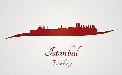 Istanbul Skyline In Red Poster