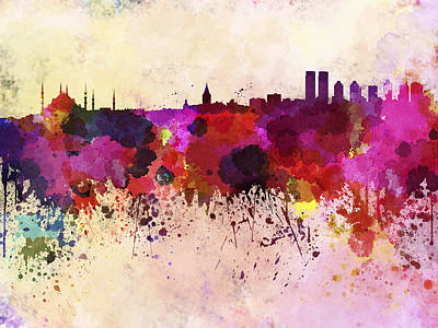 Istanbul Skyline In Watercolor Background Poster