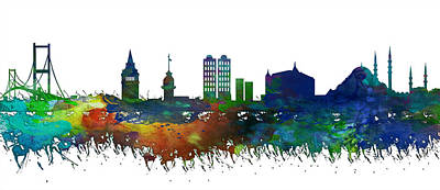 Istanbul Skyline Watercolor Poster by Celestial Images
