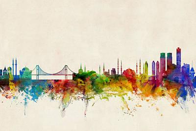 Istanbul Turkey Skyline Poster
