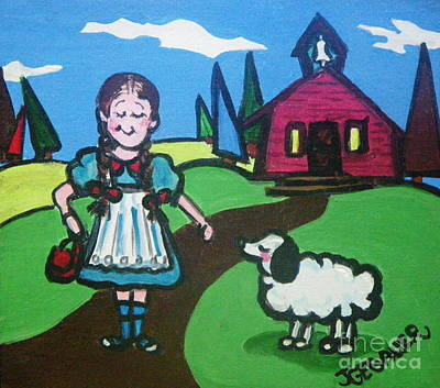 Poster featuring the painting It Followed Her To School One Day by Joyce Gebauer