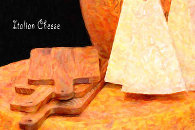 Italian Cheeses And Cutting Boards Poster